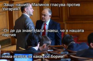-Защо нашият Малинов гласува против Унгария? -От де да знам! Нали знаеш, че в нашата партия няма яснота за какво се борим!