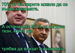 70% от българите искали да се върне казармата. А останалите 30 % са сигурно тези, които ще трябва да влизат в казармата.