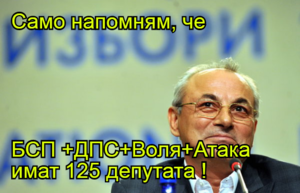 Само напомням, че   БСП +ДПС+Воля+Атака имат 125 депутата !