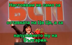 Настоявам не само за  оставката на Цв Цв, а за  напускането му на България.