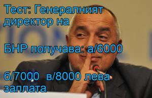 Тест: Генералният директор на  БНР получава: а/6000 б/7000  в/8000 лева заплата