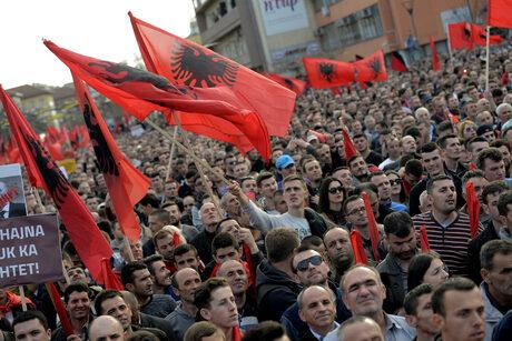 Протестът в Косово в деня на незаивисимостта - 17-и февруари 2016 г,