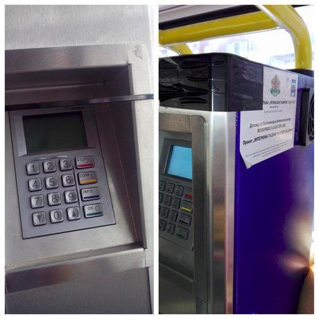 """Неработещите автомати за билени във варненските автобуси вече са """"поправени"""" с лепенка и """"свински опашки""""."""