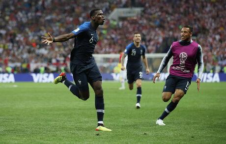 Пол Погба ознаменува добрата си игра на световното с гол във финала.