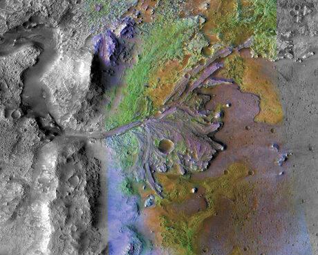 Така изглежда кратерът на Джезеро през погледа на сателитите на НАСА