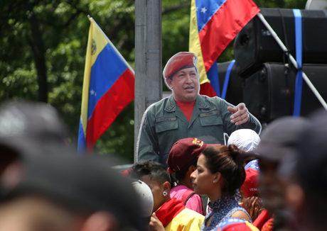 Изображение на предишния президент Уго Чавес на демонстрация в подкрепа на Николас Мадуро, Каракас, 1 май