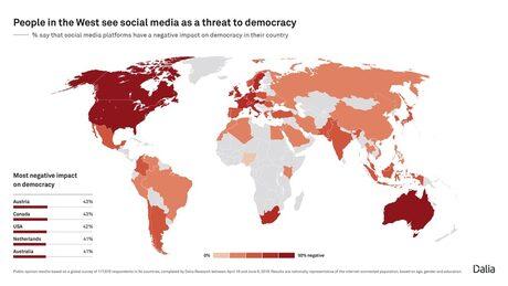 Западна Европа, Северна Америка и Австралия са районите с най-много критики за ефекта върху демокрацията от социалните мрежи.