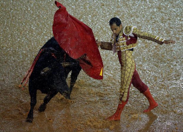"""Колумбийският тореадор Луис Боливар по време на фестивал за бикоборство на арената за бикоборство """"Канафералехо"""" в Кали, Колумбия"""