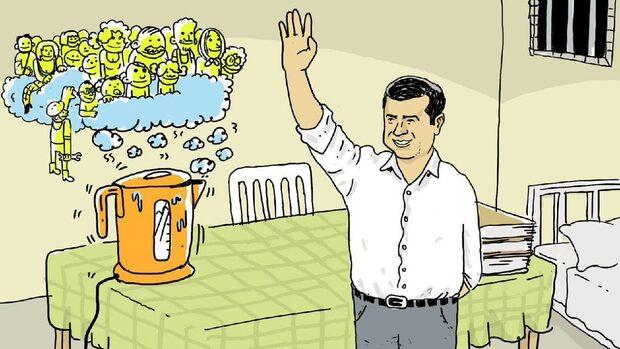 """Защо кюрдски политик свика """"кибермитинг"""" с рисунки на чайник от затвор в Турция"""